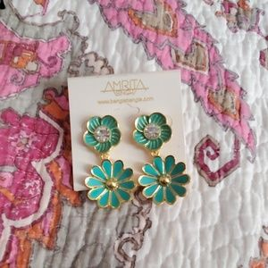 🌺 Amrita Singh Turquoise Flower Earrings NEW
